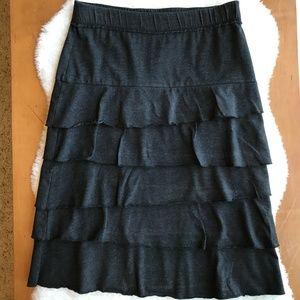 Matilda Jane Finn Tiered Charcoal Gray Skirt Sz Sm
